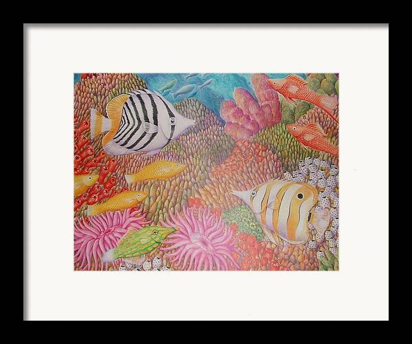 Seascape Fish Coral Drawing Framed Print featuring the drawing Colorful Ocean by Jubamo