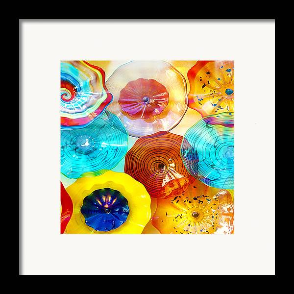Glass Framed Print featuring the photograph Colorful Plates by Artist and Photographer Laura Wrede