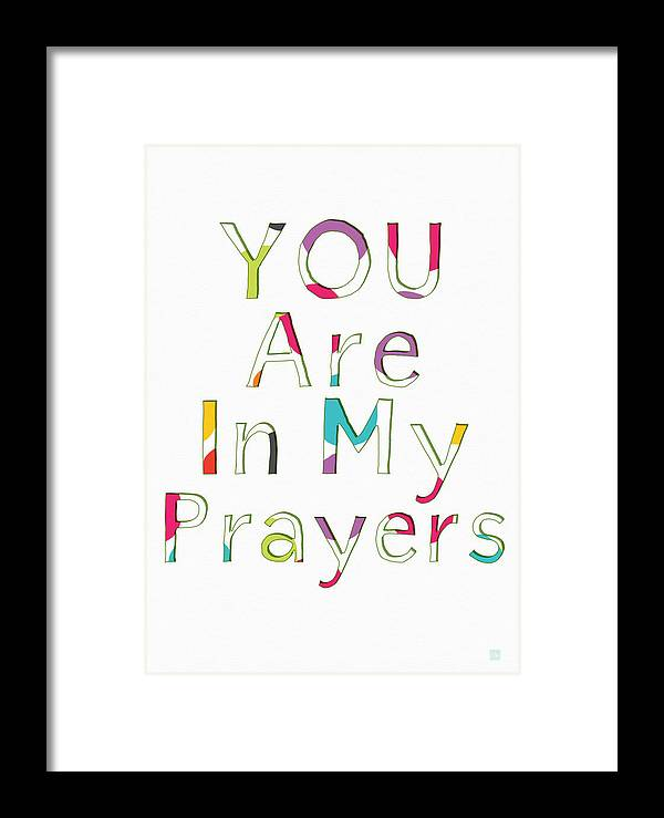 Prayers Framed Print featuring the mixed media Colorful Prayers- Art By Linda Woods by Linda Woods