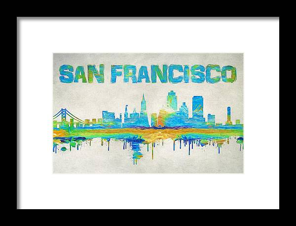 Colorful San Francisco Skyline Silhouette Framed Print by Dan Sproul