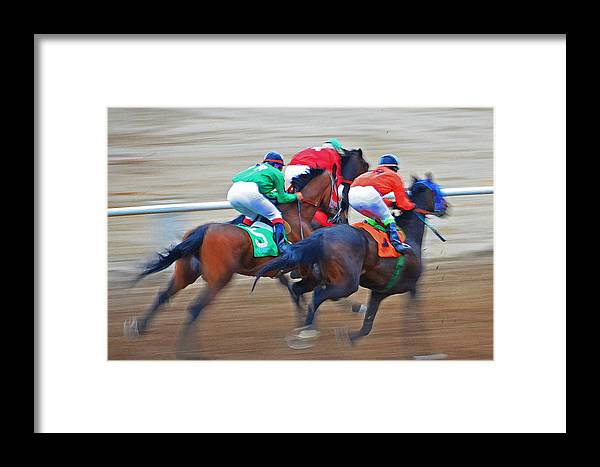 Horses Framed Print featuring the photograph Colorful Silks by Susie Fisher