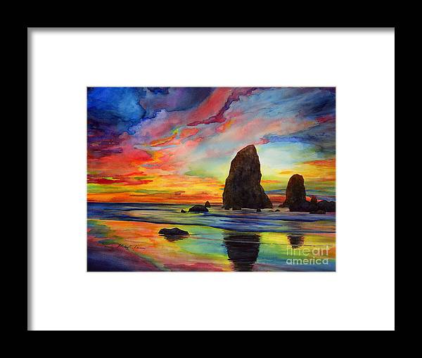 Sunset Framed Print featuring the painting Colorful Solitude by Hailey E Herrera