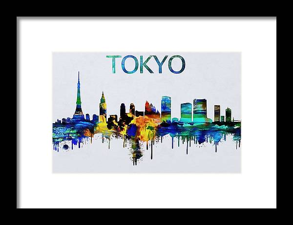 Colorful Tokyo Skyline Silhouette Framed Print by Dan Sproul