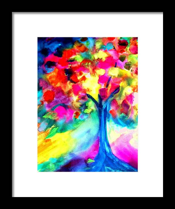 Landscape Framed Print featuring the painting Colorful Tree by Maritza Bermudez