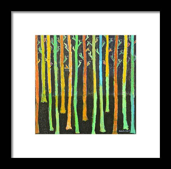 Colors Framed Print featuring the painting Colorful Trees by Habib Ayat