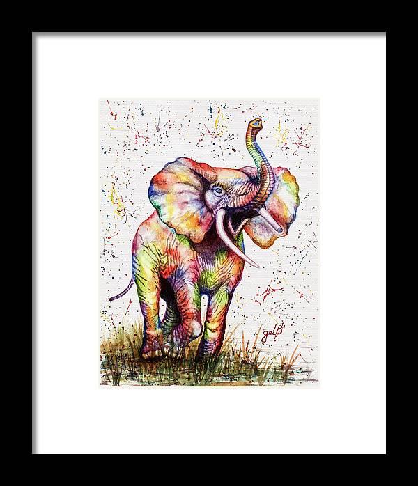 Colorful Watercolor Elephant Framed Print by Georgeta Blanaru