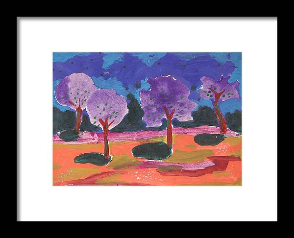 Illusive Nature Framed Print featuring the painting Colorfull Trees by Panditjee