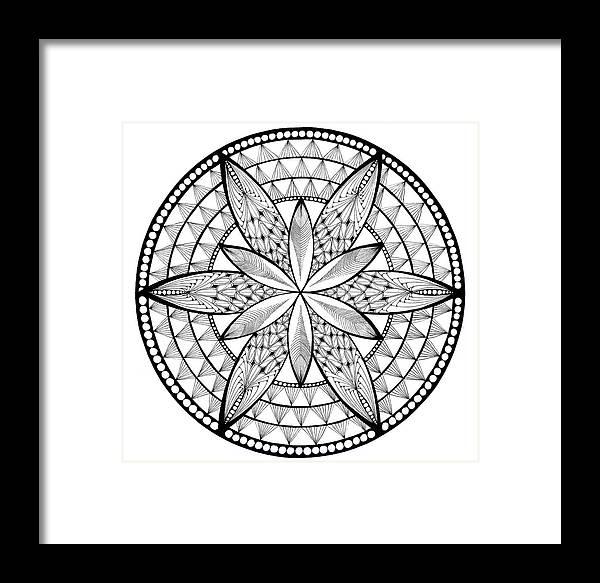 Mandala Framed Print featuring the drawing Coloring Book Mandala by Susan Singer