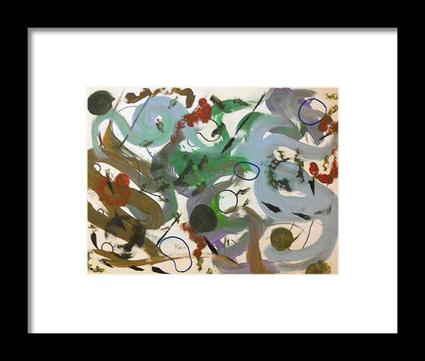 Abstract Framed Print featuring the painting Colors And Shapes by Katy Cousins