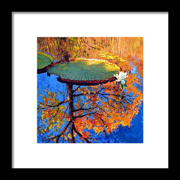 Fall Framed Print featuring the painting Colors of Fall on the Lily Pond by John Lautermilch