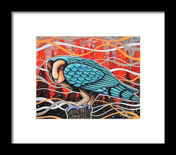 Owl Framed Print featuring the painting Colors Of The Wind by Dan Gee