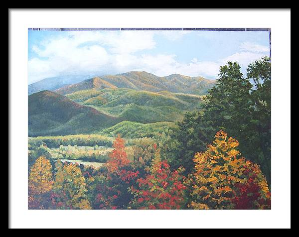 Fall Landscape Framed Print featuring the painting Colors On Parkway by Audrie Sumner