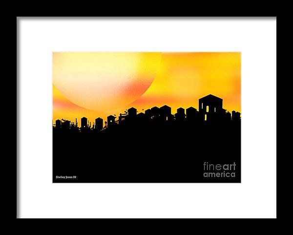 Sunset Framed Print featuring the digital art Colossal Ending by Shelley Jones