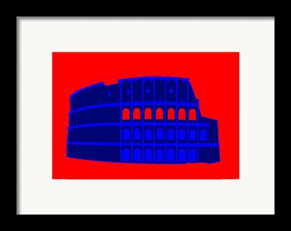 Colosseum Framed Print featuring the digital art Colosseum by Asbjorn Lonvig