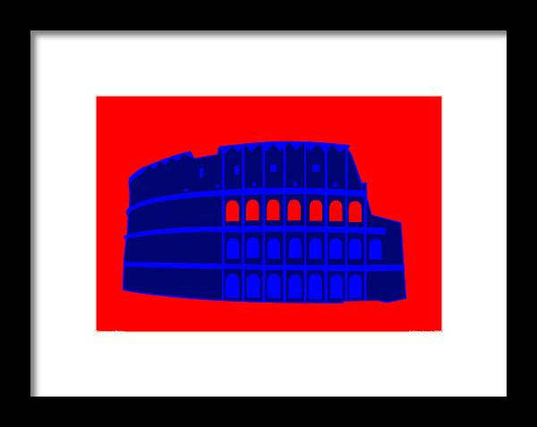 Colosseum Framed Print featuring the digital art Colosseum by Asbjorn Lonvig