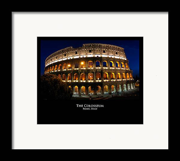 Italy Framed Print featuring the photograph Colosseum At Night by Alan Zeleznikar
