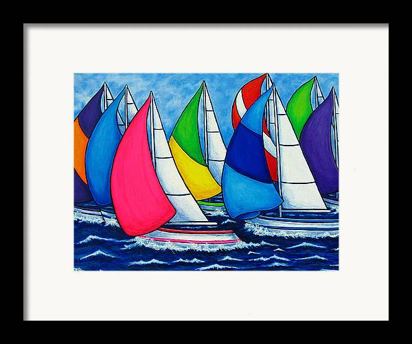 Boats Framed Print featuring the painting Colourful Regatta by Lisa Lorenz