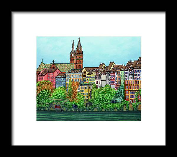 Lisa Lorenz Framed Print featuring the painting Basel, Colours of Basel by Lisa Lorenz