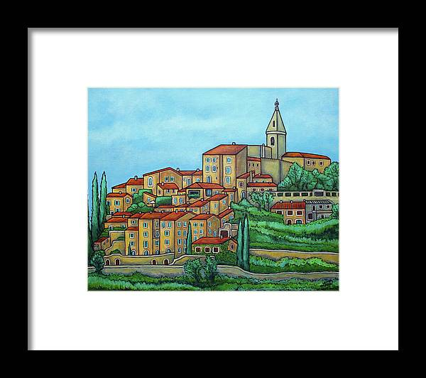 Provence Framed Print featuring the painting Colours of Crillon-le-Brave, Provence by Lisa Lorenz