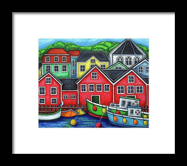 Nova Scotia Framed Print featuring the painting Colours of Lunenburg by Lisa Lorenz
