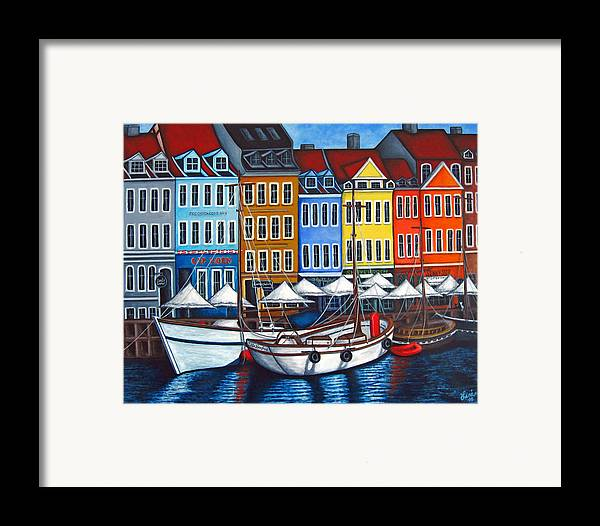 Nyhavn Framed Print featuring the painting Colours Of Nyhavn by Lisa Lorenz