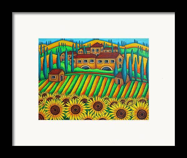 Tuscany Framed Print featuring the painting Colours Of Tuscany by Lisa Lorenz