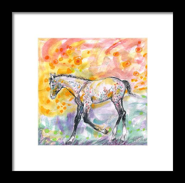 Colts Framed Print featuring the painting Colt In The Field by Mary Armstrong