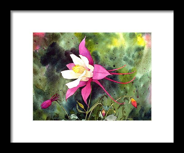 Flowers Framed Print featuring the painting Columbine by Faye Ziegler
