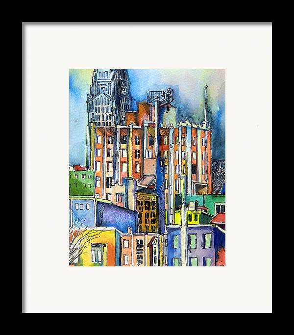 City Framed Print featuring the painting Columbus Ohio City Lights by Mindy Newman