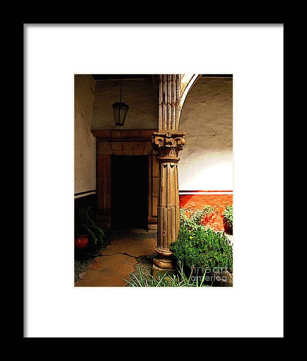 Patzcuaro Framed Print featuring the photograph Column In The Corridor by Mexicolors Art Photography