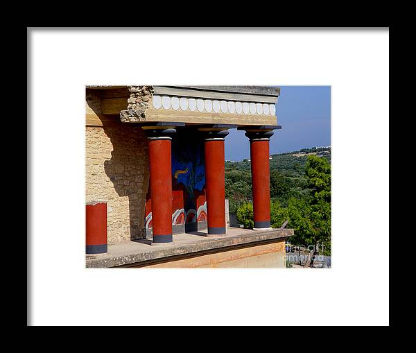 Red Columns Framed Print featuring the photograph Columns Of Knossos Greece by Nancy Bradley