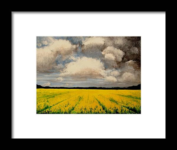 Flowers Framed Print featuring the painting Colza Field by Veronique Radelet