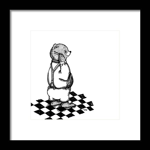 Drawing Framed Print featuring the drawing Comb Bear by Karl Addison