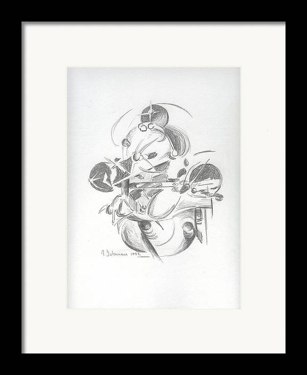 Abstract Framed Print featuring the drawing Combat by Muriel Dolemieux