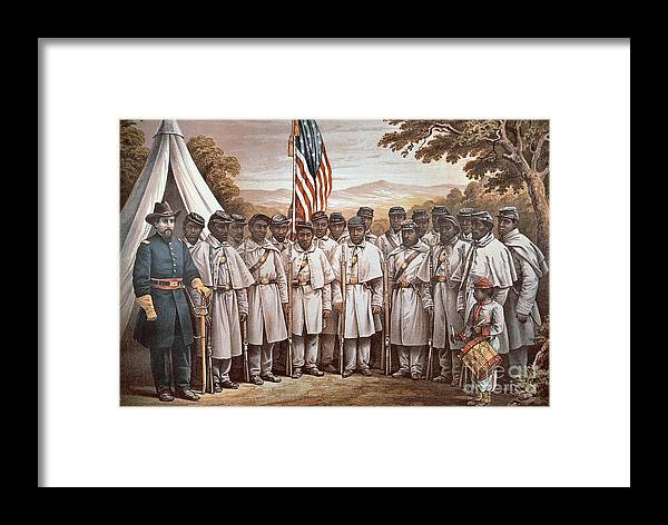 Recruitment; American Civil War; Volunteer; Soldiers; Soldier; Army; Uniform; Flag; Stars And Stripes; General; Drummer; Negro; African-american; Us; Usa; Recruiting; Advertisement; Advert; Propaganda; African American Framed Print featuring the painting 'come And Join Us Brothers' by American School