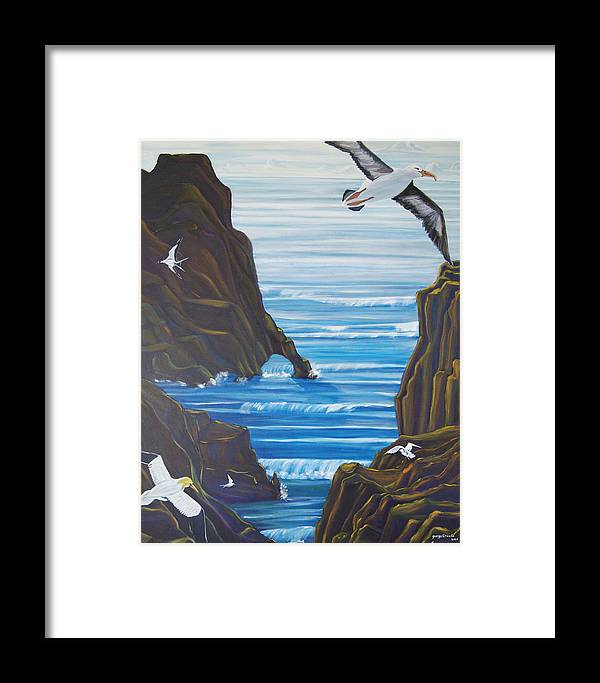 Seascape Framed Print featuring the painting Come Fly With Us by George Chacon