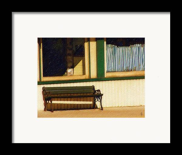 Bench Framed Print featuring the photograph Come Sit A Spell by Sandy MacGowan