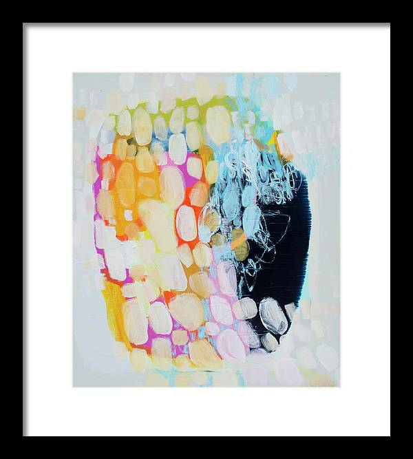 Abstract Framed Print featuring the painting Come To Bed by Claire Desjardins