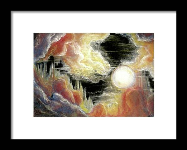 Fire Framed Print featuring the pastel Come Together by Pam Ellis
