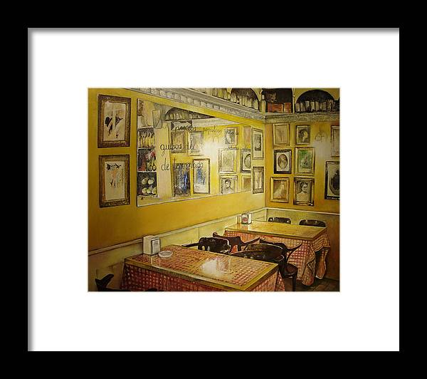 Interior Framed Print featuring the painting Comedor interior by Tomas Castano