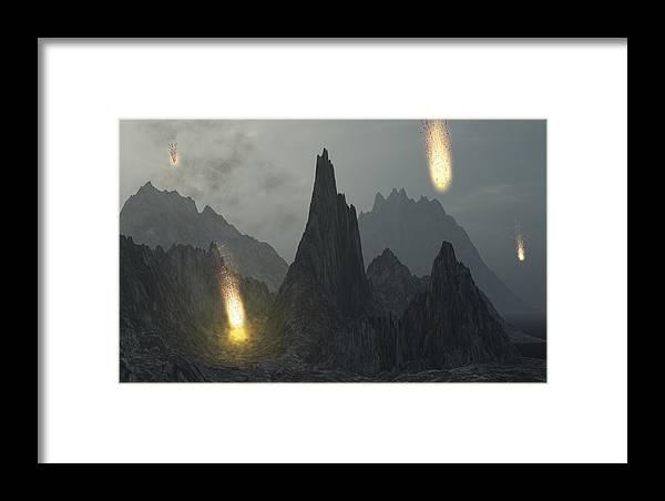Framed Print featuring the digital art Comet Shower by Margaret Wingstedt