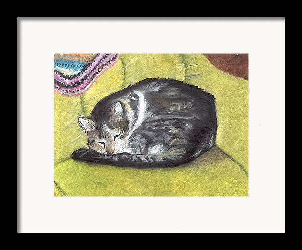 Oil Pastel Framed Print featuring the painting Comfortable Cat by Pamela Wilson