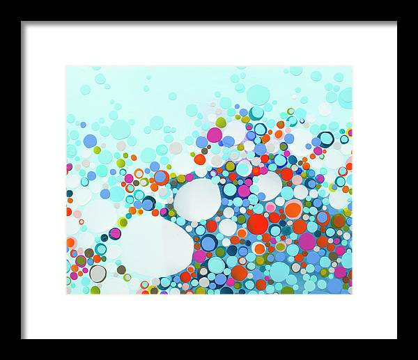 Abstract Framed Print featuring the painting Comfortable In Chaos by Claire Desjardins