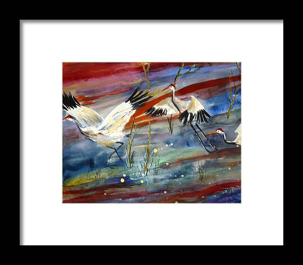 Crane Framed Print featuring the painting Coming In To Roost by Yael Eylat-Tanaka