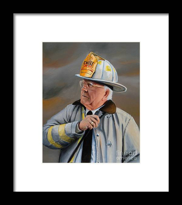 Fire Chief Framed Print featuring the painting Command by Paul Walsh
