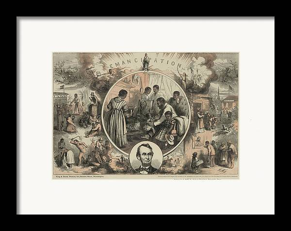 History Framed Print featuring the photograph Commemoration Of The Emancipation by Everett