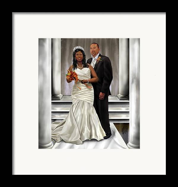 Wedding Framed Print featuring the painting Commissioned Wedding Portrait by Reggie Duffie