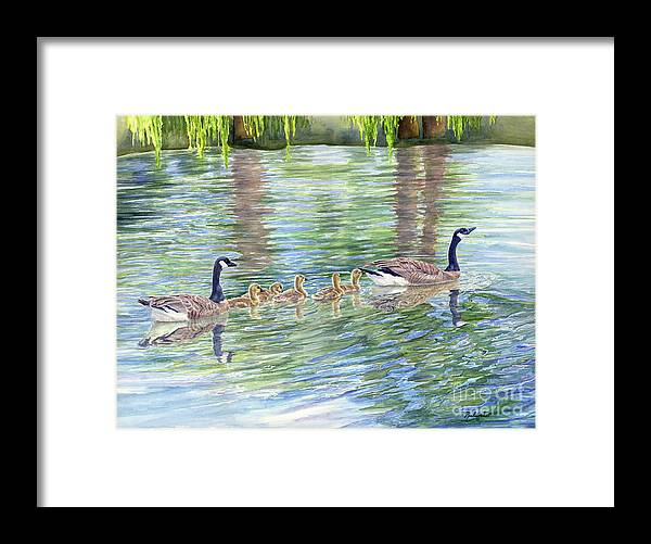 Canadian Geese Framed Print featuring the painting Commitment by Malanda Warner