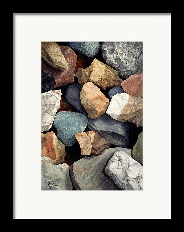Stones Framed Print featuring the painting Common Stone by Craig Gallaway