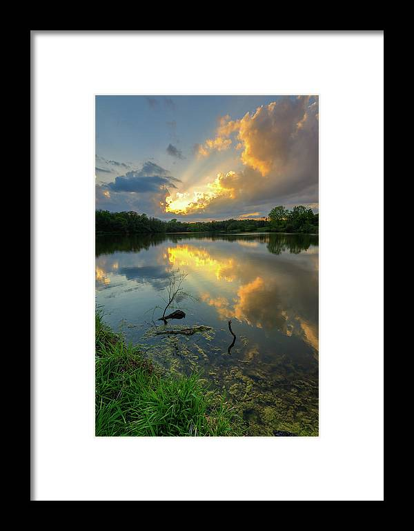 Sunset Framed Print featuring the photograph Community Lake #8 Sunset by Mark McDaniel
